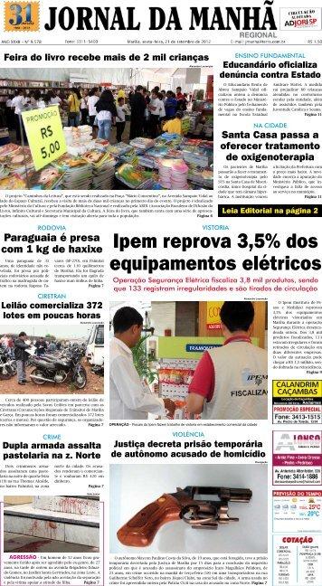 Ipem reprova 3,5% dos equipamentos elétricos - Jornal da Manhã