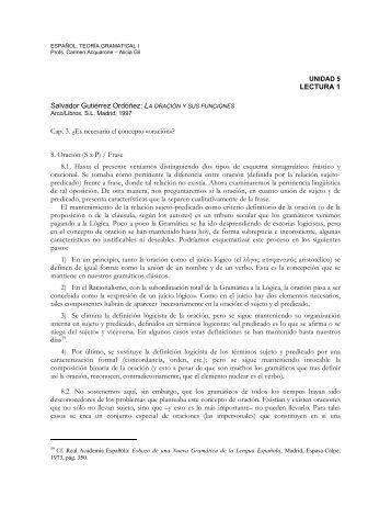 LECTURA 1 Salvador Gutiérrez Ordóñez: LA ORACIÓN Y SUS ...