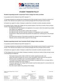 Student transfer request policy v1.6x - Australian Pacific College