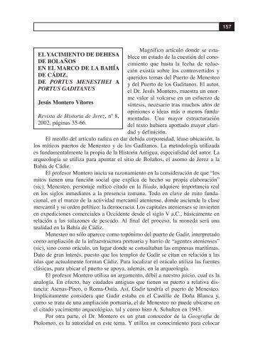 Magnífico artículo donde se esta - Revista de Historia de El Puerto