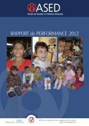 RAPPORT de PERFORMANCE 2012 - ASED