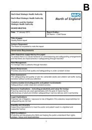 North East Strategic Health Authority North West ... - NHS North West