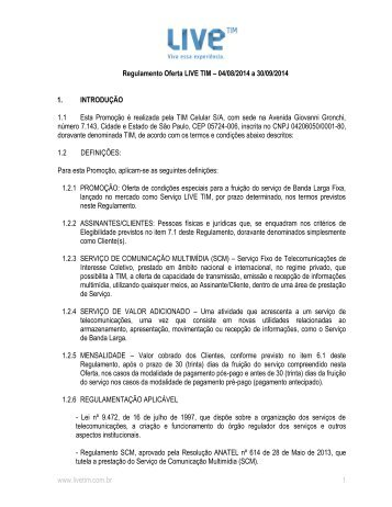 www.livetim.com.br 1 Regulamento Oferta LIVE TIM – 01/09/2013 a ...