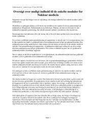 Oversigt over muligt indhold til de enkelte moduler for Nuklear medicin