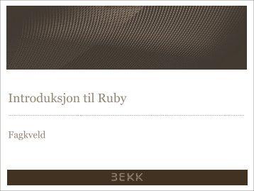 Introduksjon til Ruby - GitHub