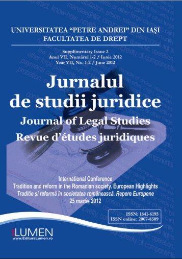 Jurnalul de studii juridice supliment 2-2012 - Editura Lumen