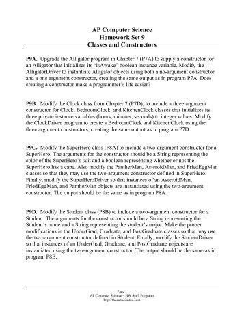 AP Computer Science Homework Set 4 Arrays and ArrayLists of ...