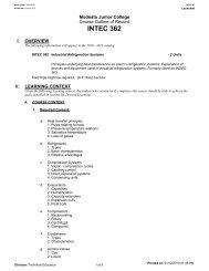 INTEC 362 - Modesto Junior College Curriculum