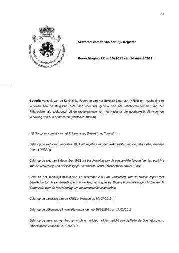 Verzoek van de Koninklijke Federatie van het Belgisch Notariaat