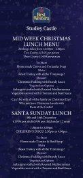 Studley Castle MID WEEK CHRISTMAS LUNCH MENU SANTA ...