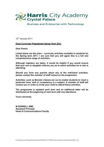 12 January 2011 Extra Curricular Programme Spring Term 2011 ...