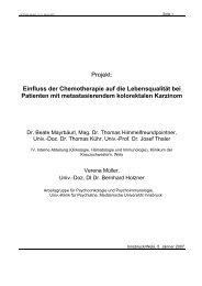 Einfluss der Chemotherapie auf die Lebensqualität bei Patienten mit ...
