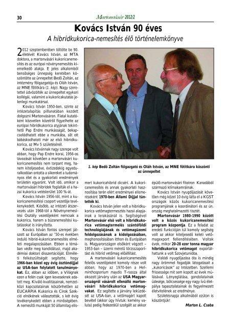 MartonVásár újság 2012/2 - MTA Mezőgazdasági Kutatóintézet