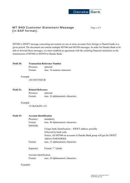 MT 940 Customer Statement Message (in SAP format)  - Danske Bank