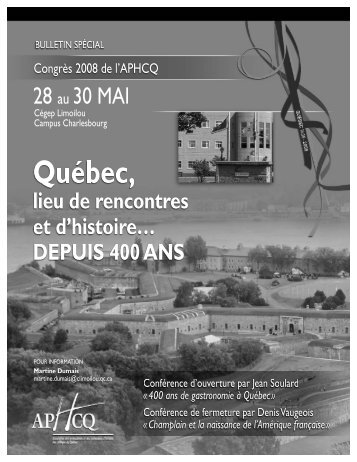 Tout le programme du congrès 2008 de l'APHCQ en format PDF