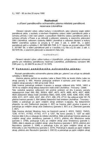 Ochranné pásmo MPR Litoměřice - Městský úřad Litoměřice