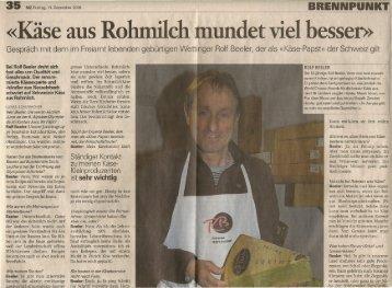 «Käse' aus Rohmilch mundet viel besser» - Rolf Beeler