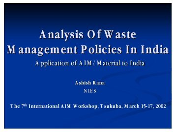 Application of AIM/Material in India