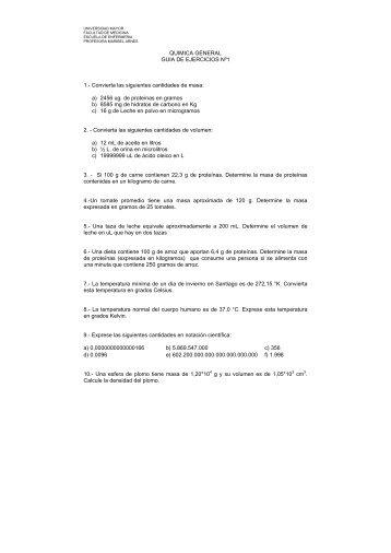 QUIMICA GENERAL GUIA DE EJERCICIOS Nº1 1. - Profesora ...