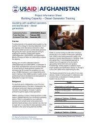 Building Capacity – Diesel Generator Training - Afghan