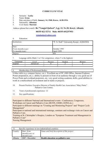 annex f3 standard eu format cv