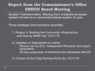 Report from the Commissioner's Office - Department of Behavioral ...