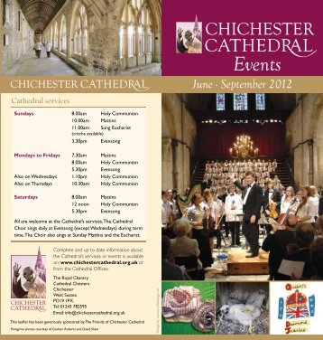 June - September 2012 Events Leaflet - Chichester Cathedral