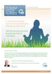 2. Frühjahrsmeeting des Forum Study Nurses Freitag, 23. April 2010 ...