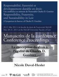 La conception du droit à l'égalité de Charles D. Gonthier ... - CISDL