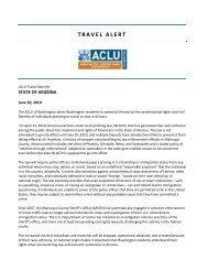 ACLU Travel Alert for AZ - ACLU of Washington