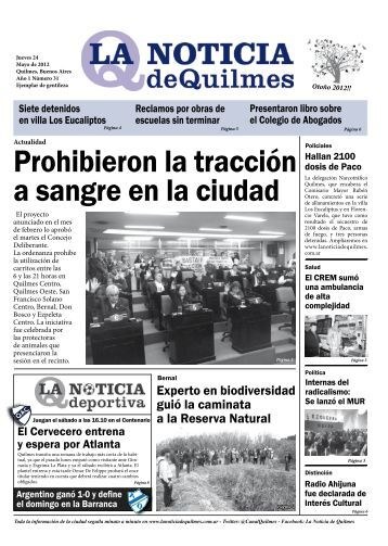 Prohibieron la tracción a sangre en la ciudad - la noticia de quilmes