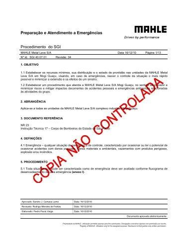 Preparação e Atendimento a Emergências - mahle.com