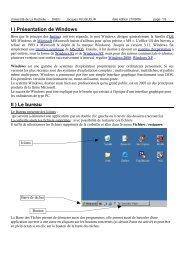 I ) Présentation de Windows II ) Le bureau - Université de La Rochelle