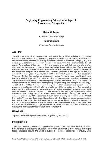 summary paper title in times roman 16pt, upper case, bold ... - CDIO