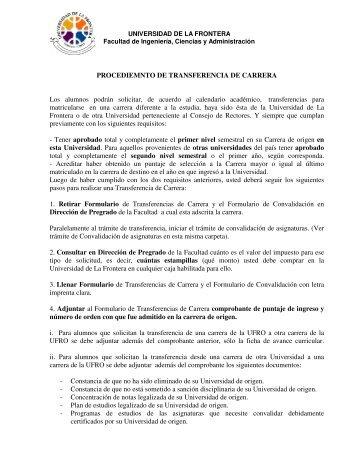 PROCEDIEMNTO DE TRANSFERENCIA DE CARRERA Los ...