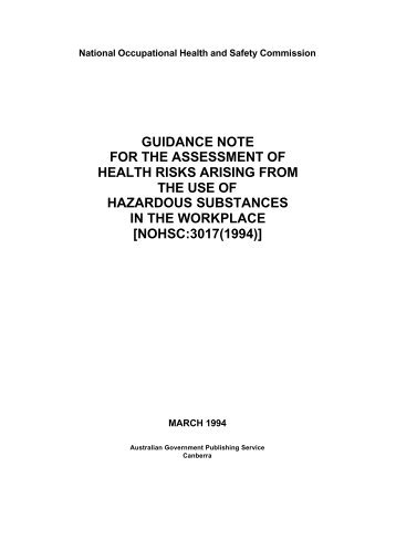 Guidance Note for the Assessment of Health Risks Arising from ...