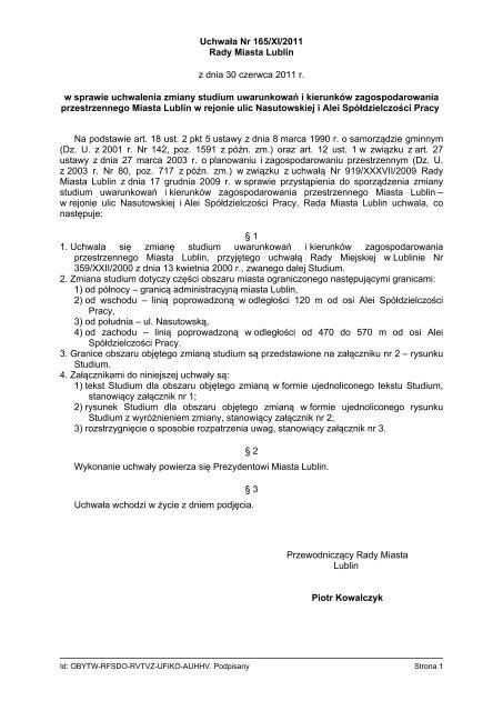Uchwała Nr 165/XI/2011 Rady Miasta Lublin z dnia 30 czerwca ...
