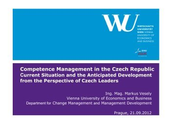 Competence Management in the Czech Republic. Current Situation ...