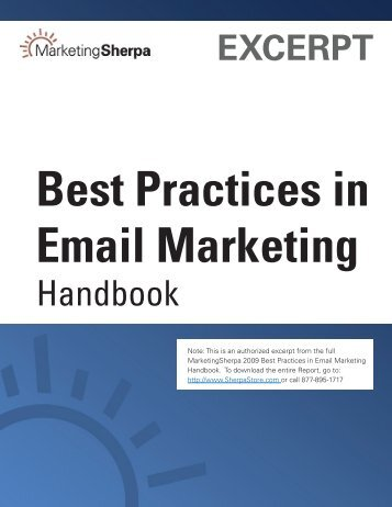 EXCERPT Best Practices in Email Marketing - MarketingSherpa