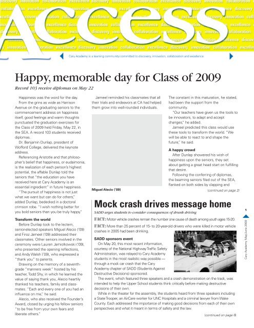 Happy, memorable day for Class of 2009 - Cary Academy