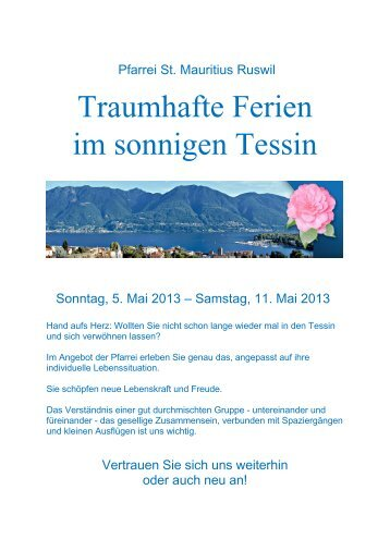 Traumhafte Ferien im sonnigen Tessin - Pfarrei-ruswil.ch