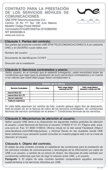 FP- CONTRATO DE CONDICIONES UNIFORMES PARA LA PRESTACION DE LOS SERVICIOS PARA MOVILES