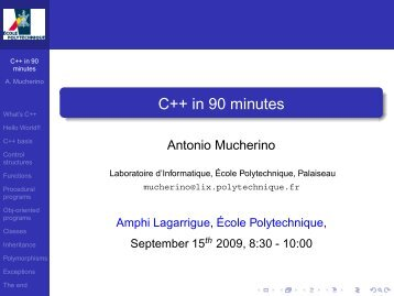 C++ in 90 minutes - Antonio Mucherino Home Page