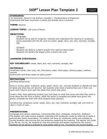 Siop Lesson Plan Templat Sample Printable Lesson Plan Free Example