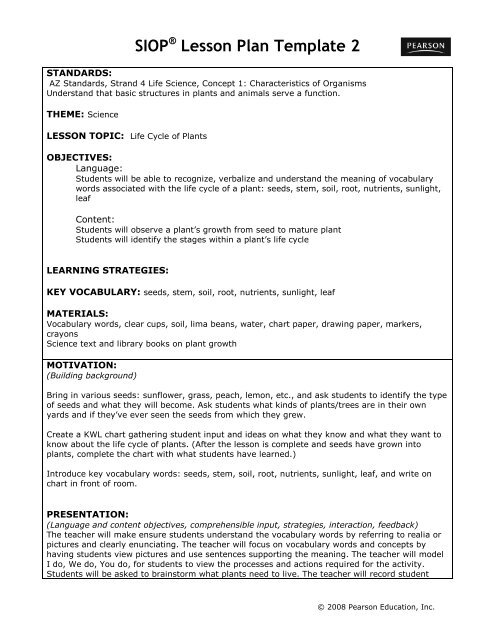 Siop Lesson Plan Template 2