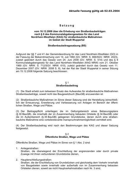 Erhebung von Beiträgen nach § 8 des ... - Stadt Wuppertal