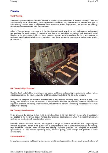 Foundry Page 1 of 2 Foundry 2008/12/21 file://D:\reform of ...