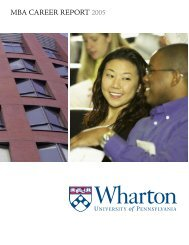 MBA CAREER REPORT 2005 - Wharton MBA Career Management