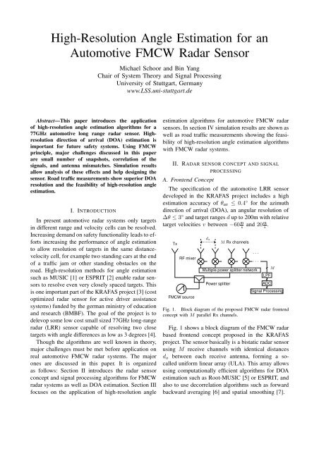 High-Resolution Angle Estimation for an Automotive FMCW
