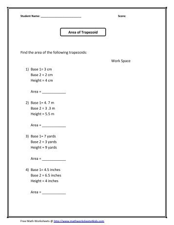 area of a trapezoid worksheet - laveyla.com